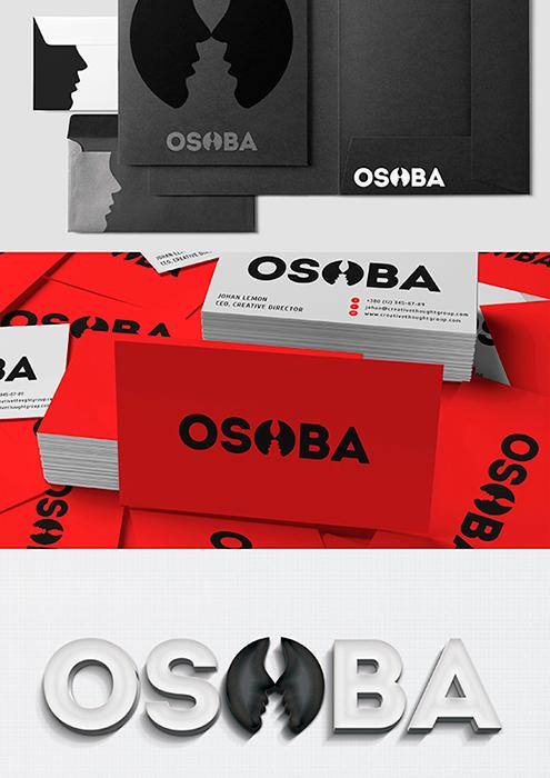 Разработка логотипа и фирменного стиля OSOBA от дизайн студии GoldMetod.